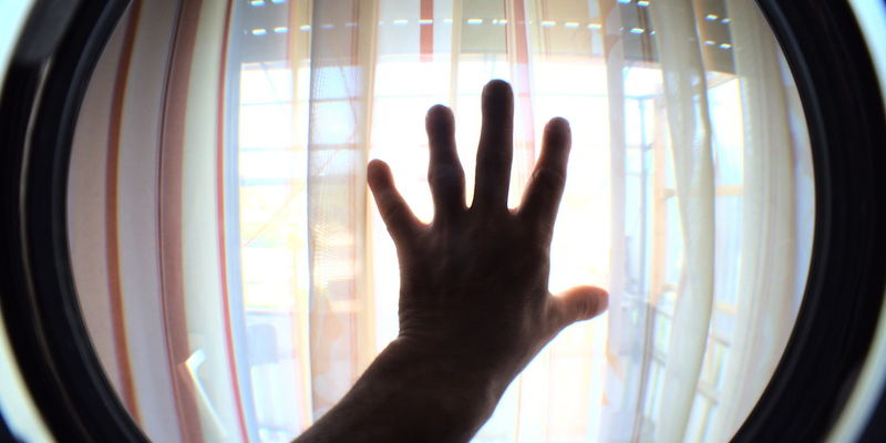 Human Hand Palm Curtain Silhouette Window Domestic Life Touching Home Interior Looking Through Window Human Finger