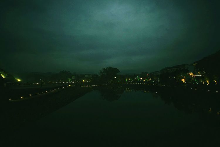lake surface Illuminated Night Reflection Water Dark Calm Sky Building Exterior Waterfront Light Cloud Tranquility Tranquil Scene Standing Water Outdoors Scenics Cloud - Sky Long Sea Storm Cloud Wenzhou Cangnan