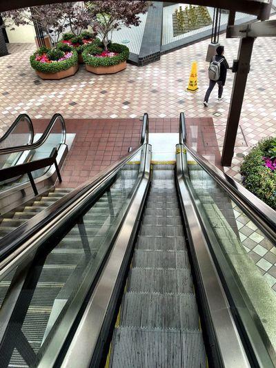 """Off Packing a Slippery Slope"" Escalator Escalators Backpack Urban Urban Geometry Urbanphotography Urbanexploration Public Transportation"