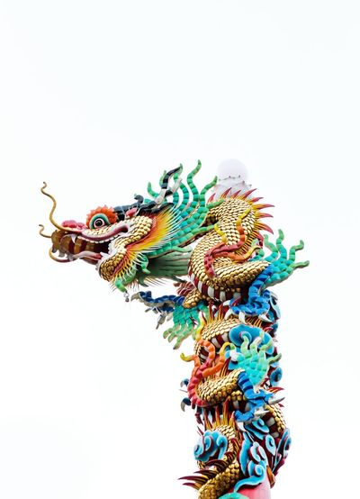 Legend Fairytale  Tales Culture Traditional Thailand Chinese Chinatown Colorful Dragon Golden Pole Top Pillar Above Great Grand Sign Design Local Asian  Retro Vintage Art Figure