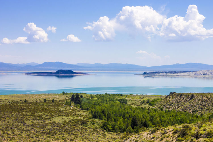Mono Lake, a large, shallow saline soda lake in Mono County, California, with tufa rock formations Beauty In Nature Cloud - Sky Day Grass Lake Landscape Mono Lake Mono Lake California Mountain Mountain Range Nature No People Outdoors Scenics Sky Tranquil Scene Tranquility Tufa Water