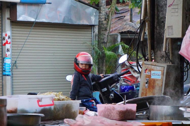 Child Children Motorcycle Occupation Headwear Men Built Structure Metal Industry Emitting Foreman Steel Worker Welding Incense Religious Offering Biker