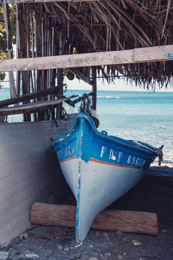 Martinique, Case Pilote Martinique Tradition Beach Beauty In Nature Blue Caribbean Day Fishing Boat Island Mode Of Transportation Nautical Vessel No People Outdoors Sea Traditional Tranquility Transportation Tropical Tropical Climate Water Wood - Material