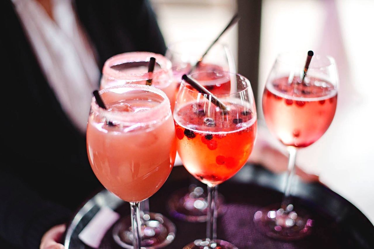 Close-Up Of Summer Drinks On Tray