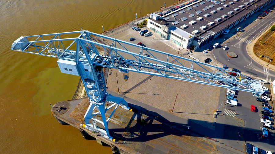 High Angle View Of Crane By River