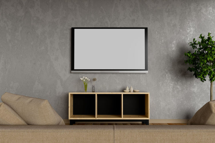 Close-Up Of Blank Television Screen Mounted On Wall