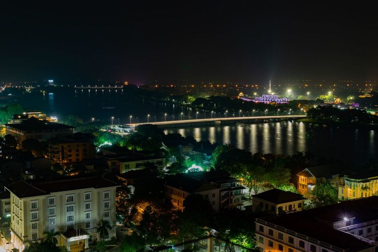 Night cityscape of Hue. City City At Night Cityscape Huế Night City Night Lights Nightphotography Vietnam Architecture Bridge Building Building Exterior Buildings Built Structure High Angle View Illuminated Nature Night Night View Nightlife Outdoors Residential District River Skyscraper Water