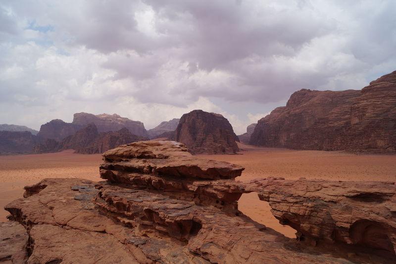 Rock bridge stone arch in wadi rum desert