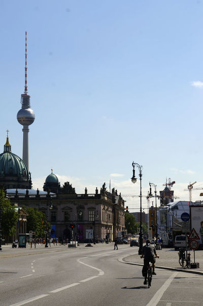 Alexanderplatz Architecture Berlin Mitte Berliner Dom Building Exterior Built Structure City Communication Cyclist Day Outdoors Real People Road Sky Transportation Travel Travel Destinations Unter Den Linden