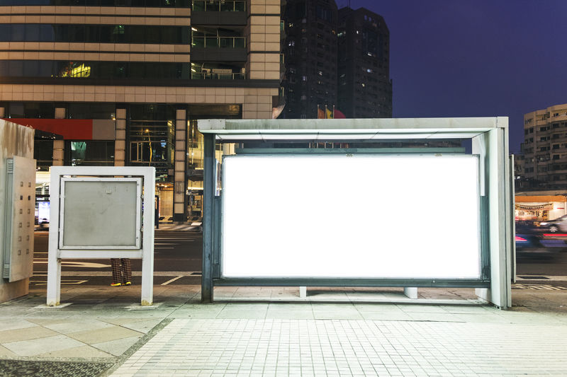Advertisement Architecture Billboard Blank Board Building Exterior Built Structure City Commercial Sign Copy Space Empty Footpath Illuminated Marketing No People Screen Sidewalk Technology Television Set The Media Tiled Floor