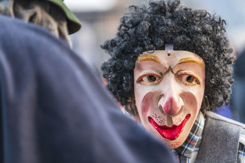 Carnival in carnia. sauris, masks of the religious and pagan tradition. italy