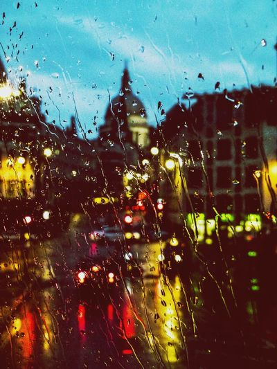 Reflection Illuminated Wet Mode Of Transport Transparent Window Land Vehicle Street Transportation City Street London Colors And Patterns