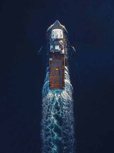 Aerial view of a nautical vessel