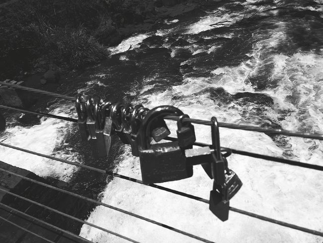 The worst metaphor for love... Water Outdoors No People Day Nature River View Waterfall Padlocks Padlock's Bridge Black And White Friday