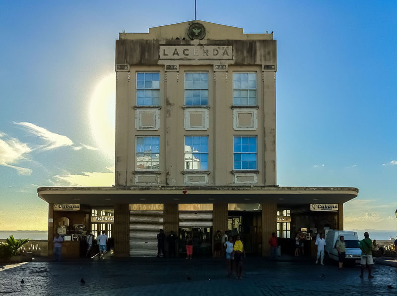 Elevator Architecture Building Exterior Built Structure City Day Elevador Lacerda Entrance Outdoors Real People Salvador Bahia Sky Tourism Travel Destinations Sunset In The City  Sun In Background