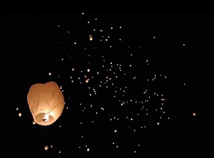 All people prayed for world peace and happiness.✨☺️✨ Prayertime Prayer Nightphotography Skylantern Lanthan Night Astronomy Moon No People Space Flying Party - Social Event Outdoors Sky Black Background