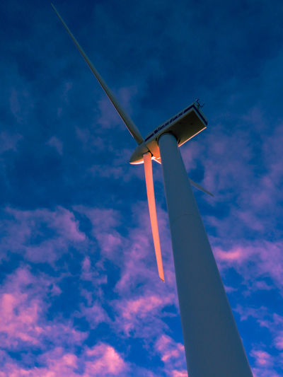 EyeEm Nature Lover EyeEm Gallery EyeEmNewHere Alternative Energy Blue Cloud - Sky Day Low Angle View Nature No People Outdoors Red Reflection Sky Technology Wind Power Wind Turbine