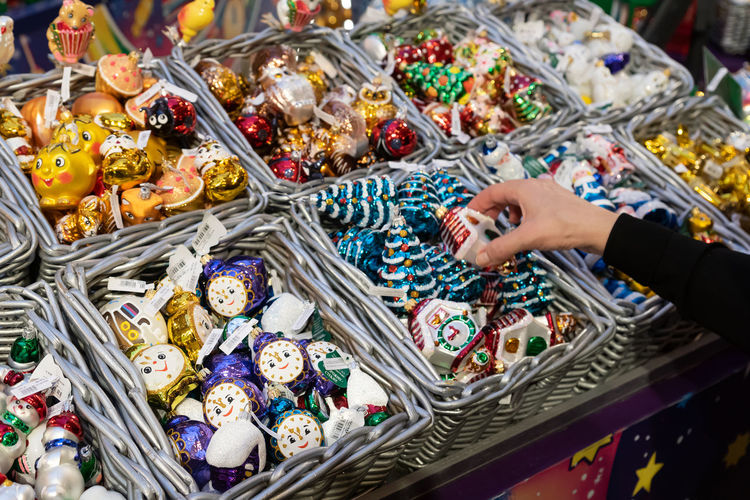 Gum main department store. new year and christmas fair. christmas toys for sale in baskets.