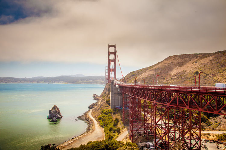 View of golden gate bridge against cloudy sky