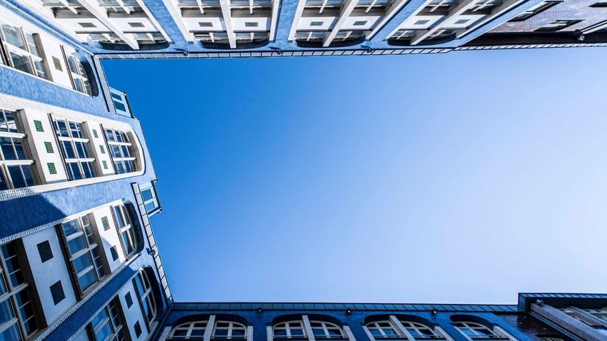Berlin Architecture Built Structure Sky Building Exterior Low Angle View Blue Clear Sky Building Day City Nature Copy Space No People Outdoors Sunlight Residential District Bridge Sunny Office Building Exterior Bridge - Man Made Structure