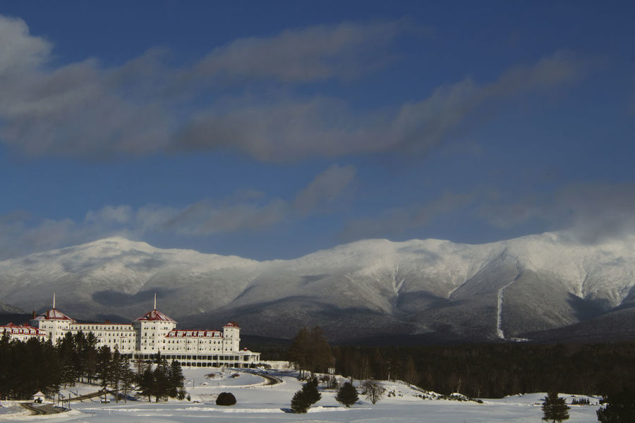 Mount Washington  NH Ancient Civilization Architecture Beauty In Nature Building Exterior Built Structure Cloud - Sky Cold Temperature Day History Mount Washington Hotel Mountain Mountain Range Mountains Nature New Hampshire No People Outdoors Scenics Sky Snow Travel Destinations Weather Winter