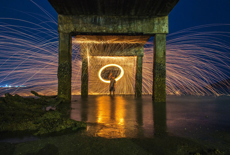 i love this <3 Steelwool Sea Night Speed Outdoors Spinning Illuminated Wire Wool Motion Architecture Long Exposure Blurred Motion Built Structure Glowing Bridge Water Bridge - Man Made Structure Light Painting Connection Tunnel Nature No People Sparks Spingodz Sattahip
