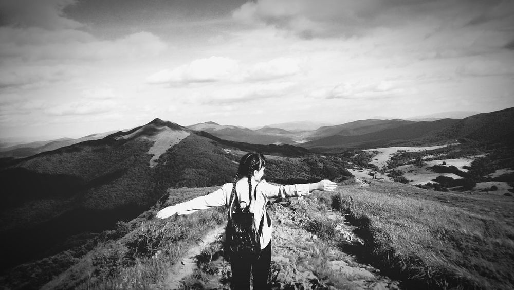 Mountain Landscape Nature Hiking Sky Relaxation View Chill Blackandwhite Pleasecomment Vscocam Adventure Explore Mountain Peak Braids Tumblrgirl Backpack Travell Climbing