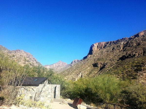 Tuscon, Az Desert Scene Catalina Mountains  Desert Beauty Not A Cloud In The Sky Open Sky