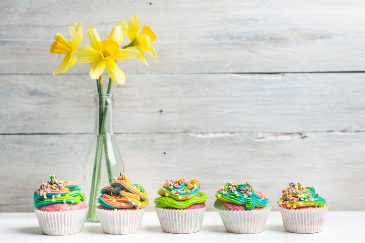spring, spring, spring ! Colorful Food Spring Rainbow Easter Muffin Cupcake Flower Flower Head Cupcake Multi Colored Yellow Table Sweet Food Sprinkles Birthday Cake Birthday Sponge Cake Dessert Easter Cake Icing Cake