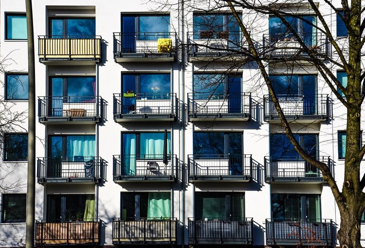 City Boxes Building Exterior Architecture Window Built Structure Outdoors Residential Building Day Full Frame Balcony No People Little Boxes Colourful Curtains Living Today City Life Façade Hamburg