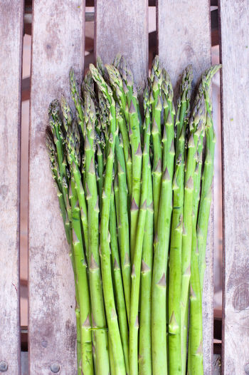 High angle view of cropped asparagus