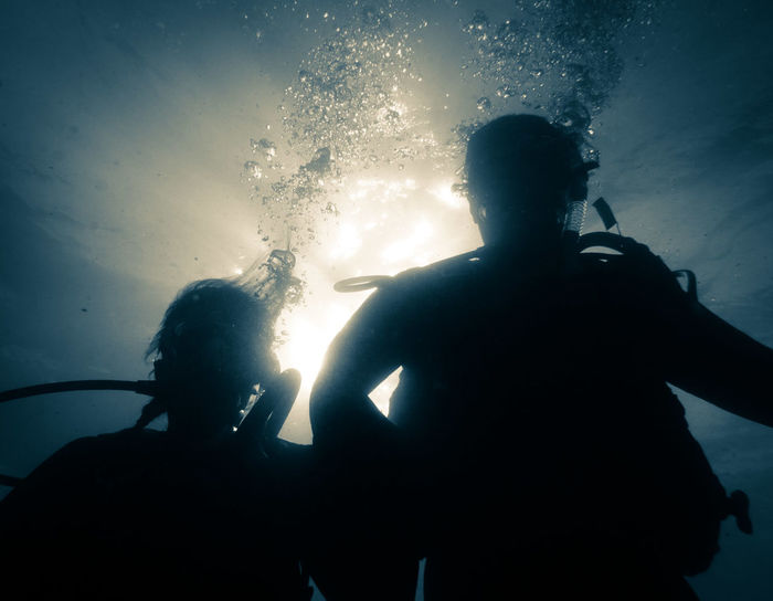 Diving into your mind. Water Underwater Scuba Diving Silhouette UnderSea Underwater Diving Blue Outdoors Underwater Photography Scuba Diving Japan Photography Undewater Travel Photography