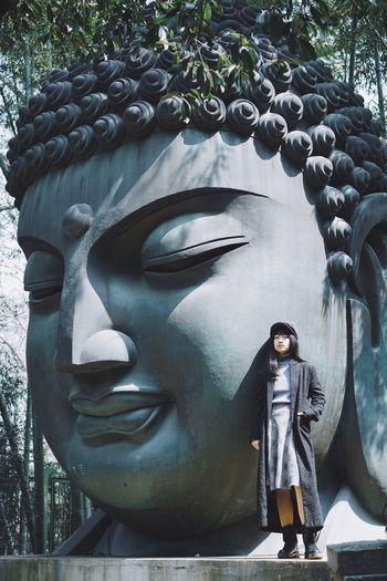 Buddha Full Length Art And Craft One Person Representation Sculpture Human Representation Standing Statue Outdoors