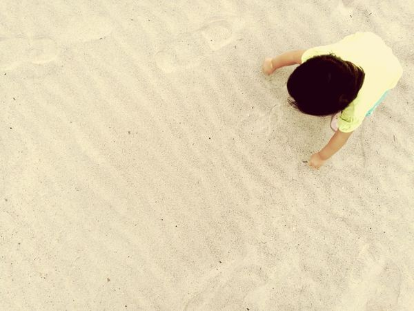 Sand & Sunday Sand One Person High Angle View Beach Outdoors Day Directly Above