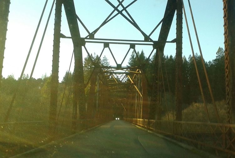 Bridge Travel One Lane Road Old Travel Photography Transportation Old Bridge Country Bridge Headlights Backroads Driving Car Sun Rays Drive&shot No Filter Steel Architecture Architecture_collection Bridge - Man Made Structure Architectural Detail