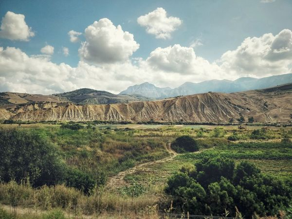 Sicilian hinterlands Tree Rural Scene Agriculture Mountain Irrigation Equipment Field Sky Cloud - Sky Landscape
