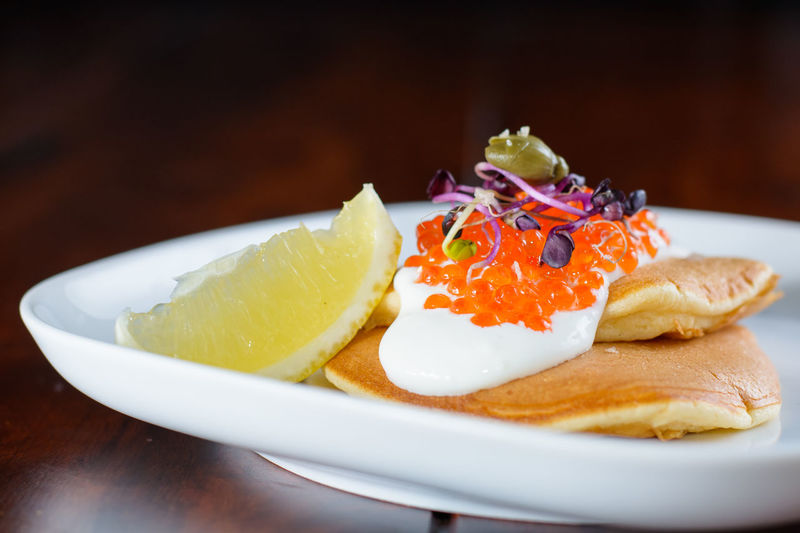 Pancakes with salmon caviar Caviar Close-up Dessert Fish Food Gourmet No People Pancakes Ready-to-eat Salmon Salmon Caviar Sourcream