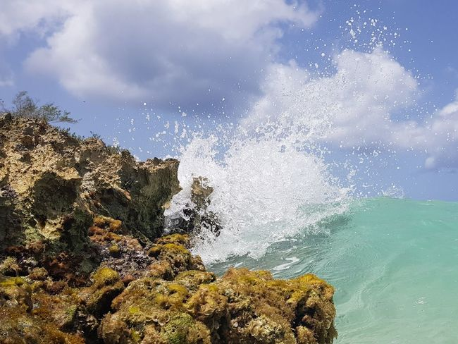 Crashing wave, splashing wave. Smartphonephotography S8Photography S8+ Nature Dominican Republic Carribean Sea Water Sea Tree Blue Rushing Force Wave Coast Rocky Coastline Surf Tide Power In Nature Seascape