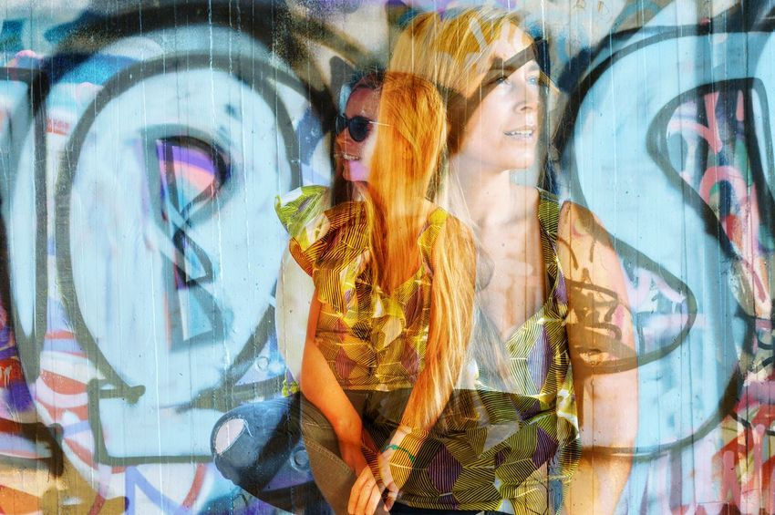 Double Exposure Multiple Layers Adult Art And Craft Beautiful Woman Beauty Creativity Fashion Female Likeness Graffiti Hair Hairstyle Happiness Human Representation Long Hair People Portrait Representation Smiling Streetart Women Young Adult Young Women