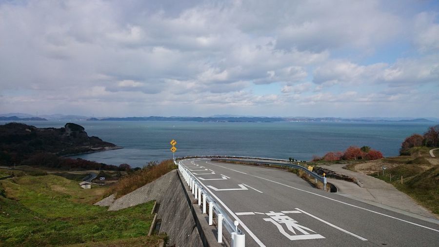 Winding Road Japan Photography Japan Cloud - Sky Clouds And Sky Water Sea Road Beach High Angle View Car Sky Horizon Over Water Landscape Cloud - Sky Highway