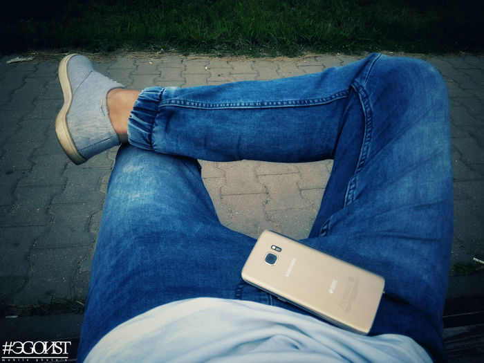 samsung music Low Section Wireless Technology Human Leg Blue Shoe Jeans Close-up Casual Clothing Smart Phone