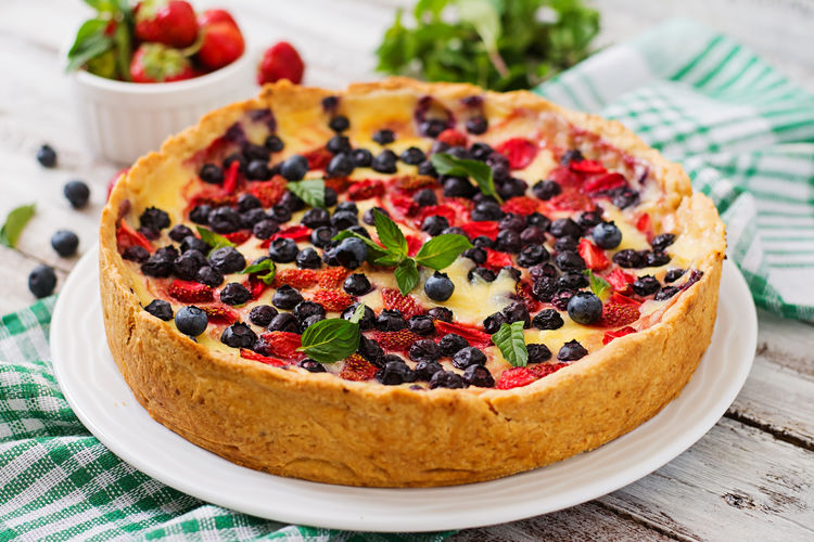 Close-up of tart on table