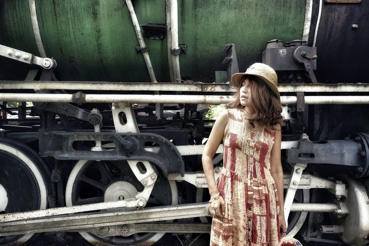 Lowkey  Close-up Train Station Classic Vintage Train Place Vacations Travel Tourism Tourist Summer Surface Fashion Portrait Beutiful  Model Woman Outdoors Nature Background Green Looking Lifestyles ASIA Thailand Young Women Standing Posing The Traveler - 2018 EyeEm Awards