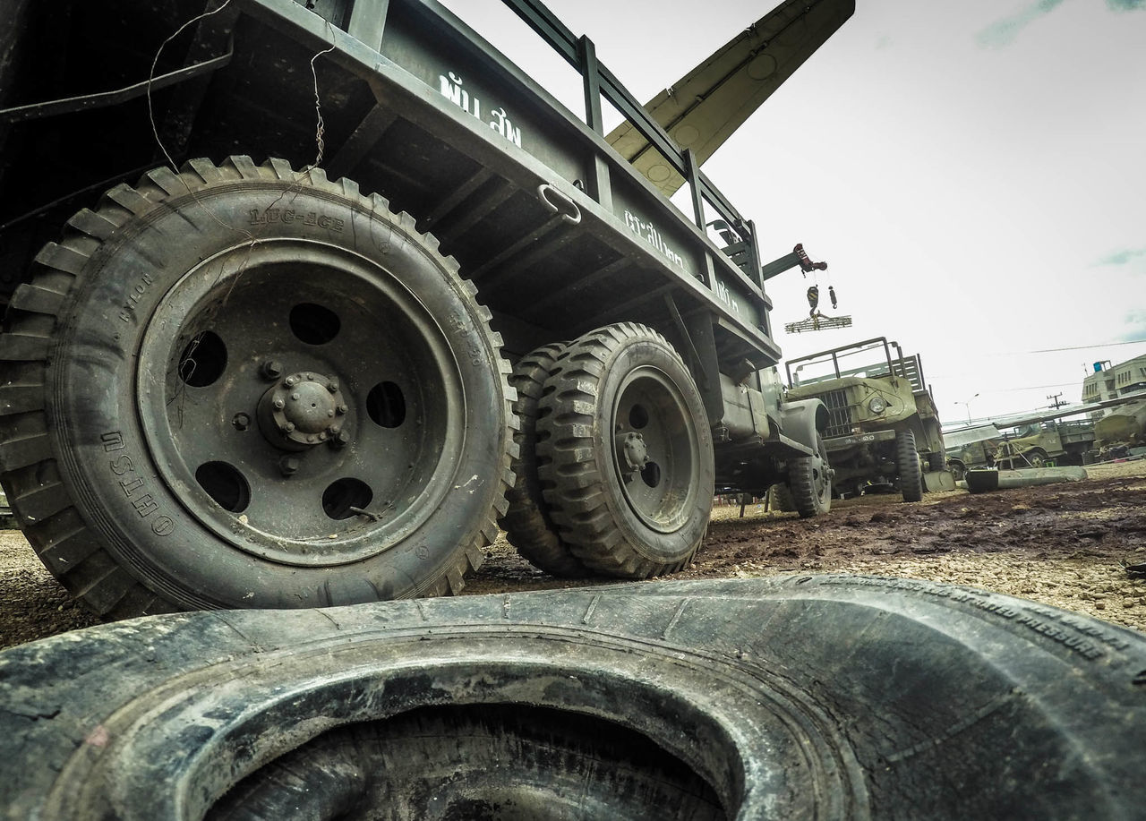 tire, wheel, transportation, day, outdoors, no people, land vehicle, stationary, close-up
