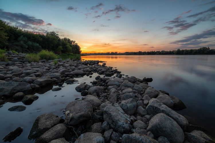 Vistula Vistula River Wisła River Beach Beauty In Nature Cloud - Sky Idyllic Lake Nature No People Non-urban Scene Orange Color Outdoors Reflection Rock Rock - Object Scenics - Nature Sky Solid Sunset Tranquil Scene Tranquility Water Wisła