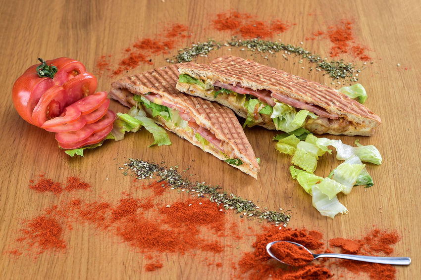 Bread Breafkfast Breakfast Close-up Directly Above Food Freshness High Angle View Indoors  Leaf No People Ready-to-eat Red Sandwiches Table Wood - Material