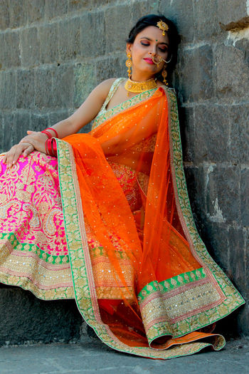The Bride Bride Lenhga Pretty Girl Girl Peaceful Attire Attire For The Day Marriage  Dress Traditional Traditional Clothing Only Women One Person One Woman Only Adult Portrait Adults Only People