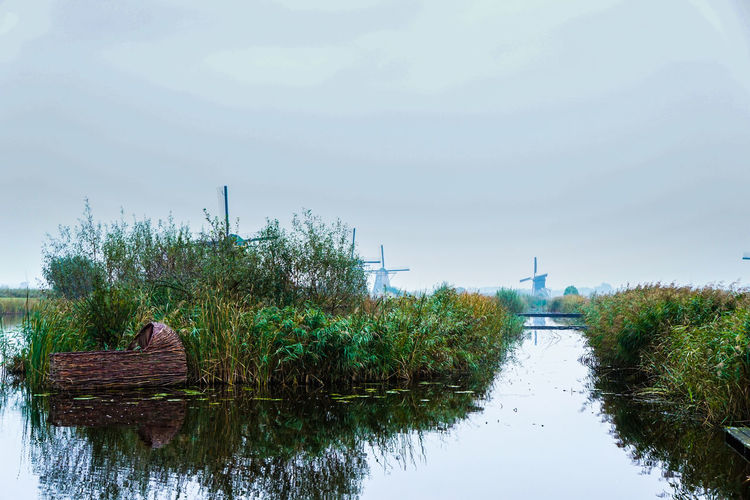 Beauty In Nature Built Structure Canal Day Grass Green Green Color Growth Idyllic Nature No People Outdoors Plant Reed Basket Reflection Renewable Energy Rural Scene Scenics Sky Standing Water Tranquil Scene Tranquility Water Windmills