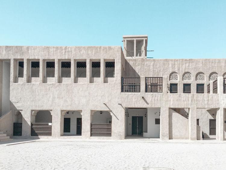 Sheikh Saeed Al Maktoum House, Dubai Architecture Building Exterior Built Structure Clear Sky Day Historical Building No People Outdoors Shadow Sunlight