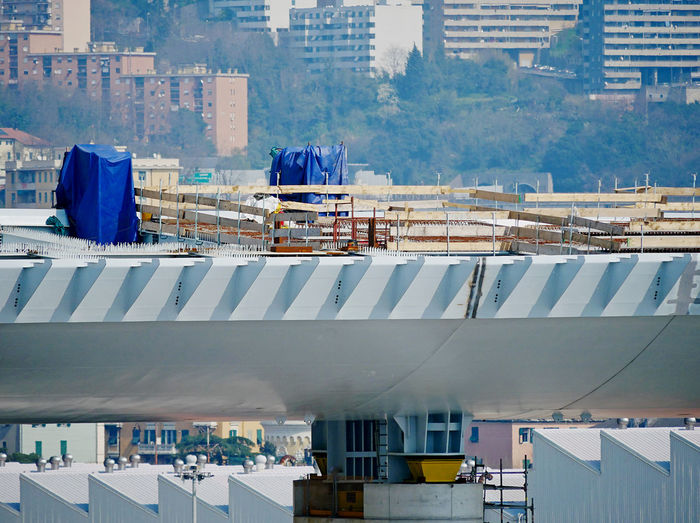 Building work on the reconstruction site of the new highway bridge in the italian city of genoa.